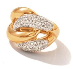 The distinctive look you love. Simple, yet statement-making.  A twist of diamond and a twist of 14kt gold. The ring makes its presence known with iconic, pared-down styling -  drawing attention to the sparkling charm of pave diamonds and gleaming 14kt gold. (837423) #RossSimons