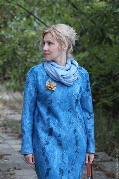 """Верхняя одежда ручной работы. Ярмарка Мастеров - ручная работа. Купить Валяное пальто-кокон """"Прогулка налегке"""". Handmade. Голубой"""