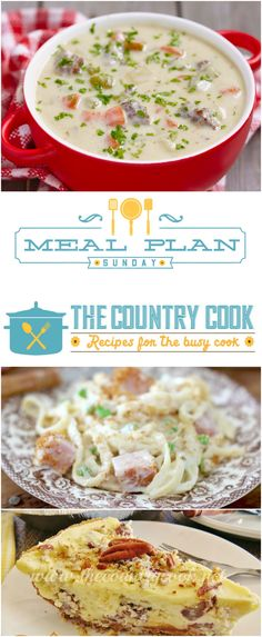 Meal Plan Sunday at The Country Cook! Simple recipes to help plan your entire menu for the week: Ham Fettuccine Bake, Cheeseburger Soup,  Lemon Garlic Chicken and even dessert: Butter Pecan Cheesecake & Mug Cake (and more!)