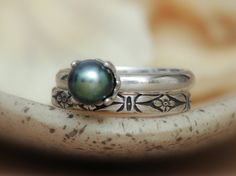 Art Deco Black Pearl Wedding Set in Sterling - Silver Forget-Me-Not Narrow Band and Black Pearl Engagement Ring Set - Mysterious and Elegant