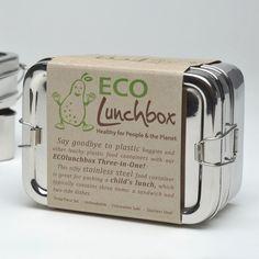 ECOlunchbox madkasse i rustfrit stål - 3-i-1