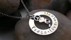 Peace Love Music hand stamped sterling silver by thecharmedwife, $42.00