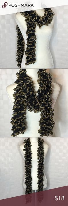 Gold and Black Ruffle Scarf Long Ruffle gold and black scarf Accessories Scarves & Wraps