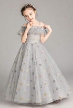 Starry Night Long Gown Silver Preorder 2 to 14 Years (Flower Girl Dresses). Please allow a minimum of 4 weeks for delivery. Wedding Dresses For Kids, Gowns For Girls, Frocks For Girls, Little Girl Dresses, Girls Dresses, Flower Girl Dresses, Beautiful Girl Dresses, Baby Frocks Designs, Kids Frocks Design