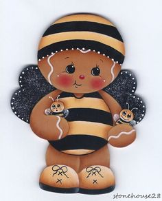 HP GINGERBREAD Bee FRIDGE MAGNET #Handpainted