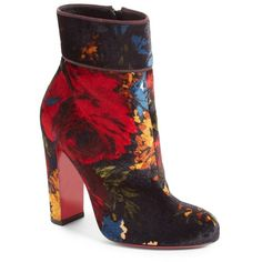 Women's Christian Louboutin Moulamax Floral Velvet Bootie ($1,095) ❤ liked on Polyvore featuring shoes, boots, ankle booties, heels, black floral velvet, velvet booties, short black boots, heeled booties, black booties and black bootie