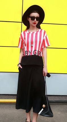 Unique fashion short sleeves crew neck red blue striped letter printed T-shirt