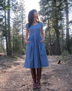 50s Blue Floral Day Dress with Pockets