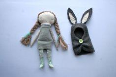 grey rabbit pixie little lu doll 12 cloth doll rag by humbletoys