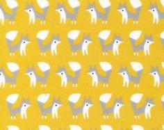 Bio flanelle Fanfare renards or - organique Coton Flanelle Baby Girl Boy unisexe tissu - Cloud 9 tissus - Fanfare flanelles - 1 yard