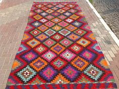 GORGEOUS Colorful Kilim rug, Vintage diamond design rug, Turkish kilim rug, Colorful area rug, Bright colored kilim rug, Boho chic rugs, rug