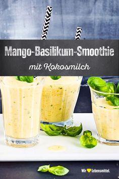 Mango-Basilikum-Smoothie - Detox-Rezepte - Mango-Basilikum-Smoothie We combine exotic mango with spicy basil and turn it into a fruity smoothie. Smoothie Detox, Basil Smoothie Recipe, Mango Smoothies, Smoothie Fruit, Smoothie Prep, Healthy Smoothies, Smoothie Recipes, Detox Breakfast, Snacks Sains