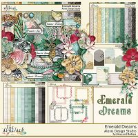 """Emerald Dreams - Collection  http://www.thedigichick.com/shop/Alexis-Design-Studio/    """"Emerald Dreams"""" is the newest exclusive digital scrapbooking kit (collection)  created with romance and glitz to add a bit of glamor to your pages. It is full of beautiful rich colors, beautiful flowers and elements to add a touch of class to any special occasion."""