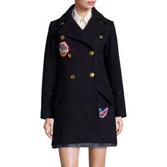 COACH 1941 Double-Breasted Wool Peacoat ($598) ❤ liked on Polyvore featuring outerwear, coats, navy, double breasted peacoat, double breasted pea coat, wool pea coat, wool peacoat and navy blue wool coats