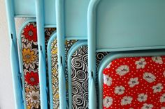 Talk about going from drab to fab! I love this upcycle project. Take a set of old metal folding chairs, paint them a fresh color and cover the seats with fun fabric. Imagine how much fun these would be to set up for your next party. For complete upcyle directions check out punk projects. Sprays Painting, Ideas, Chairs Makeovers, Extra Seats, Diy Home, Garages Sales, Old Chairs, Folding Chairs, Chairs Redo