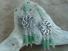 Adventurine with Sterling Silver Celtic Knot Link Earrings