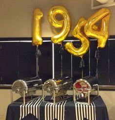 emaginë Foil Number Balloons Stripes and Roses  Northstar Balloons | northstarballoons.com