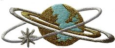 "[Single Count] Custom and Unique (3 1/4"" x 1 1/4"" Inches) Planet Earth With Orbital Rings Iron On Embroidered Applique Patch {Blue, Gold and Silver Colors} mySimple Products http://www.amazon.com/dp/B01603LVJ4/ref=cm_sw_r_pi_dp_6WwMwb0MX18MS"