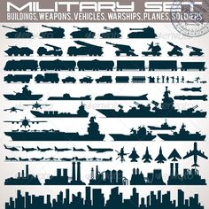 Military Icons Set. Collection of Silhouettes #GraphicRiver Military Icons Set. Collection of Black Silhouettes Include: Buildings, Weapons, Vehicles, Warships and Vessels, Planes, Trains and Soldiers. Vector Infographics Kit - vector illustration with simple gradients - vector graphics with CMYK colors for print - zip file contains images: AI, CDR, EPS, JPG Keywords: armed, background, budget, cannon, china, design, factory, forces, gun, icon, industry, info, isolated, outline, plant…