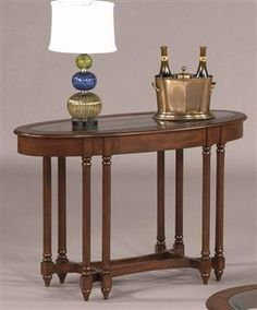 Canton Heights Traditional Dark Berry Wood Glass Oval Sofa Table