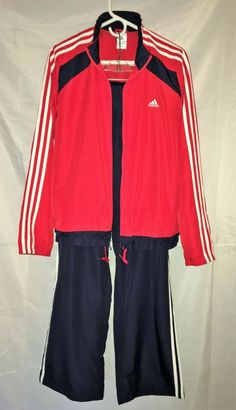 Adidas Women s XL Tracksuit - Blue and Red with white trim - 100% Polyester    5efb15aed60