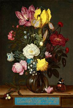 Ambrosius Bosschaert : Bouquet of Flowers in a Glass door Renfields