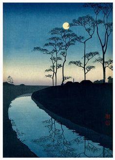 Kawase Hasui 川瀬巴水 - Canal by the moonlight