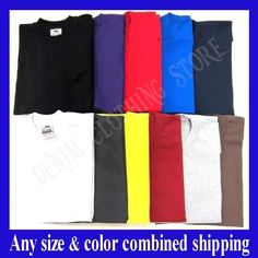 9176eeac Details about 1 NEW PRO CLUB MEN'S BLANK HEAVY WEIGHT CREW NECK SHORT  SLEEVE T-SHIRT S - 10XL