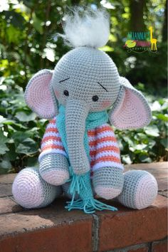 CROCHET AMIGURUMI ELEPHANT WITH HAT AND BALL YOURSELF (1) - Stacha Styles