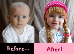 Cute...cute, just to cute!Baby Beanie Wig Beanie Pigtail Wig Hot Pink Baby Hat