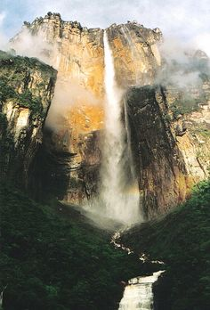Angel Falls, Venezuela (also called Salto Angel) is the Earth's highest uninterrupted waterfall. It is 979 metres (3,230 feet) tall.