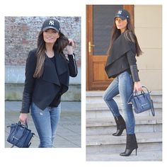 59e4e4deb04 Winter Fashion Outfit Waterfall Fall Overflow Blazer Denim Jeans High Heel  Ankle Boots Designer Handbag Celine New York Yankees Cap Style Trend  Fashionista ...