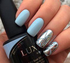 Blue manicure: 100 photos with blue nail design Elegant Nails, Stylish Nails, Hot Nails, Hair And Nails, Manicure, Nails 2017, Best Nail Art Designs, Cool Nail Art, Nails Inspiration