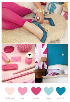 Hot pink and teal