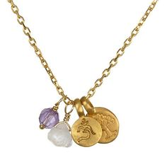 Satya Jewelry Moonstone and Amethyst Intention Necklace. Measures: 18   $99