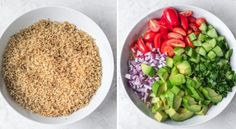 This vegan Quinoa Avocado Salad is made with simple ingredients and a tossed in a tangy dressing. It's a protein-packed salad that works for lunch or dinner Gluten Free Recipes, Vegetarian Recipes, Cooking Recipes, Healthy Recipes, Healthy Meals, Healthy Eating, Quinoa Avocado Salad, Vegan Lunches, Vegan Meals
