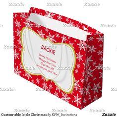 Custom-able Icicle Christmas Large Gift Bag