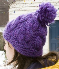 Hatticus FREE PATTERN by Susanna Celso via Ravelry lovely warm cabled bobble hat knit in super chunky/bulky yarn