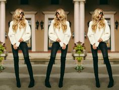 OVER THE KNEE BOOTS  - chunky sweater & skinny jeans