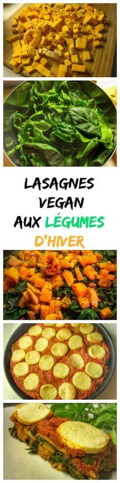 Lasagnes aux épinards, butternut et protéines de soja texturé avec du fromage végétal. Un bon plat chaud pour l'hiver !