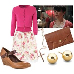 Mary Margaret's Date Night, created by dancing-when-the-stars-go-blue on Polyvore. I could do this in THIS life! Hey, now! The cross would be a Star of David, though ...