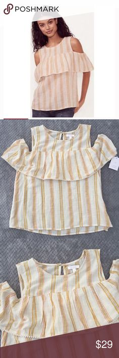 LC Lauren Conrad cold-shoulder peasant blouse PRODUCT DETAILS: Sweet style. LC Lauren Conrad delivers chic style with this cold-shoulder top. In cream/yellow.  PRODUCT FEATURES Cold-shoulder design Striped pattern Ricrac trim Crewneck Short sleeves Back button closure with keyhole accent FABRIC & CARE                                        Cotton                                        Machine wash                                        Imported   	Size Chart  	 	Size	Bust	Waist	Hips…