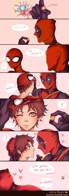 Spideypool..... THEY MADE THIS AS AN ANIME!!!!! SPIDEY IS SO PERFECT AS AN ANIME CHARACTER!!!!