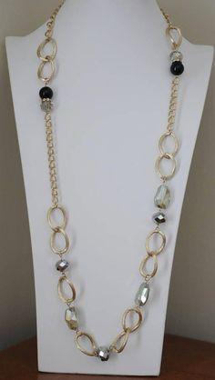 "Black Gold Silver tone 4-strand box chain draped 32/"" long statement bib necklace"