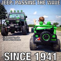 """Save the Wave! __________________________________ by @liljeepfamily """"Too many Jeepers not waving now-a-days!!! Teach them young!!! ✌️ #JeepOn #JeepWave _____ Here is an official @itsajeepmeme pre-released photo! My followers are VIPs! """"#jeepbeef #jeep  ___________________________________ Rep the best visit JEEPBEEF.com #Padgram"""