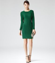 Reiss Chloey Chevron Lace Bodycon Dress in Forest Green
