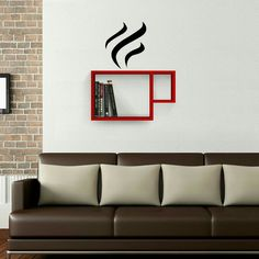 Fancy - Cup Wall Shelf and Sticker Wall Shelves Design, Wall Design, Diy Home Decor, Room Decor, Wall Decor, Blitz Design, Creative Bookshelves, Living Room Shelves, Rustic Shelves