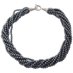 Preowned Tiffany & Co. Hematite Bead Torsade Necklace ($695) ❤ liked on Polyvore featuring jewelry, necklaces, multiple, beaded necklaces, pre owned jewelry, hematite bead necklace, tiffany co necklace and hematite jewelry