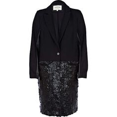 Black high shine two-tone coat £85.00