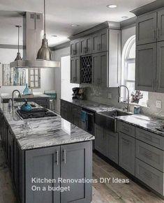 Classic kitchen design - 57 characteristics of grey kitchen ideas refined interior designs 55 – Classic kitchen design Home Decor Kitchen, Grey Kitchens, Kitchen Models, Grey Kitchen Designs, Diy Kitchen Renovation, Home Kitchens, Kitchen Layout, Kitchen Renovation, Classic Kitchen Design